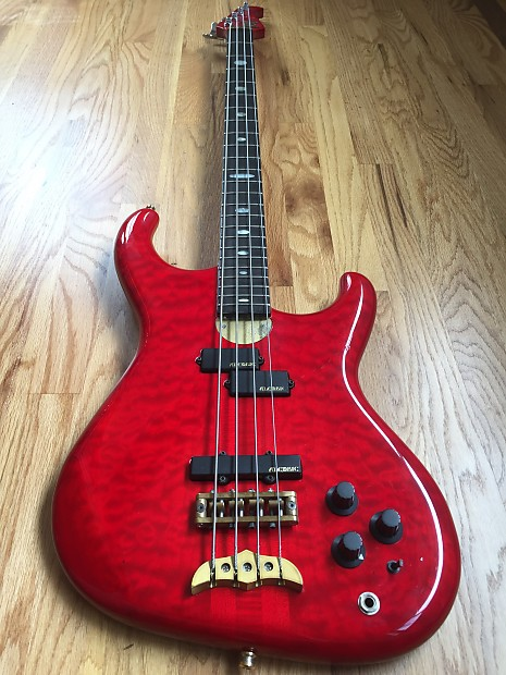 Alembic Elan 4 string Bass Guitar Quilted Maple 1988 Red