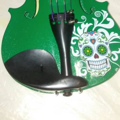 Sugar Skull Emerald Green Violin Outfit - 4/4