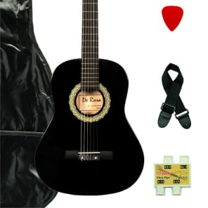 De Rosa DKF36-BK Kids Classical Guitar Outfit Black w/Gig Bag, Strings, Pick, Pitch Pipe & Strap for sale