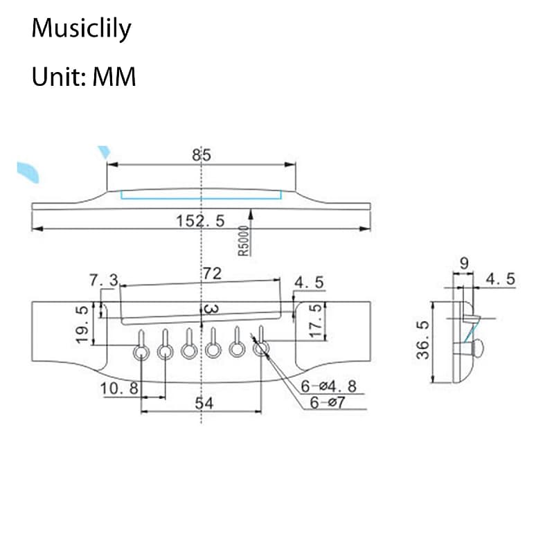 Musiclily 6 String Rosewood Guitar Bridge Saddle Fits for Classical Guitar
