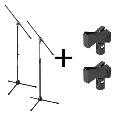 Two for One BLOWOUT: QTY (2) JamStands Tripod Mic Stands w/ Boom, JS-MCFB100 and JS-MC1 Mic Clips