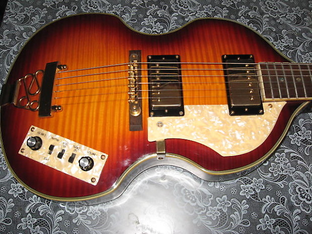 jay turser jtg 2 violin shape 6 string guitar in sunburst reverb. Black Bedroom Furniture Sets. Home Design Ideas
