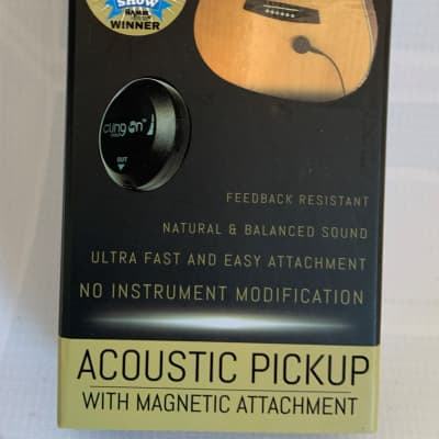 Cling On Quick Install and Remove Acoustic Guitar Pickup-Held by Magnet-New!
