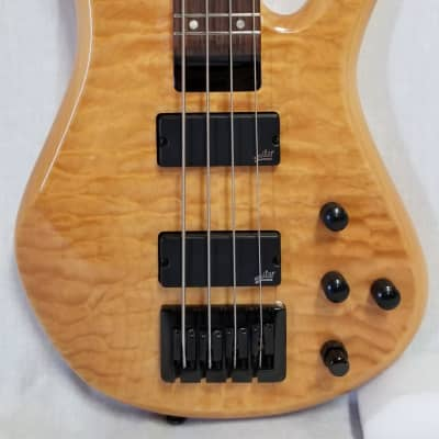 Zon Sonus Standard 4 Maple With Quilt Maple Top Electric Bass Gloss Trans Finish, Black Hardware for sale