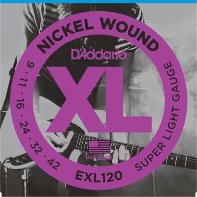 D'addario EXL120 Nickel Wound, Super Light Guitar Strings, 09-42