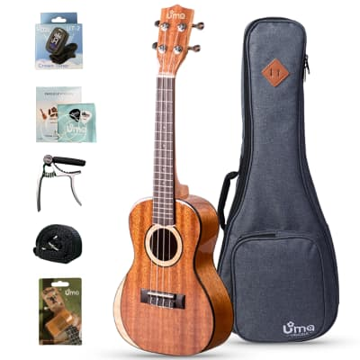 Uma Moon SC Solid Mahogany Top 23 Inch Concert Ukulele with Deluxe Bag for sale