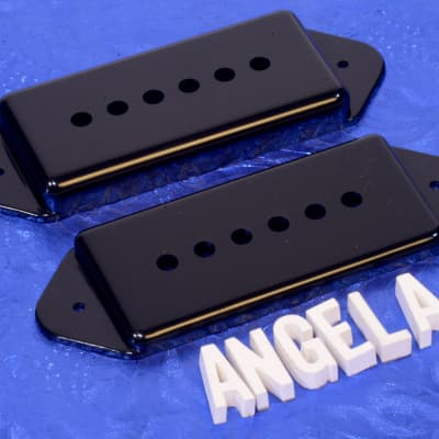 Lindy Fralin Black Short And Tall P90 Pickup Cover Set For Hollow Body  Guitars