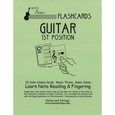 "Notes & Strings Notes & Strings Guitar 1st Position 8.5""X11"" Classroom Size Flashcards"