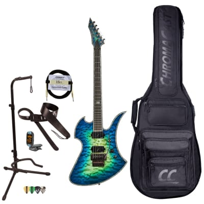 BC Rich Guitars Mockingbird Extreme Exotic Electric Guitar with Floyd Rose, Case, Strap, and Stand, Cyan Blue for sale
