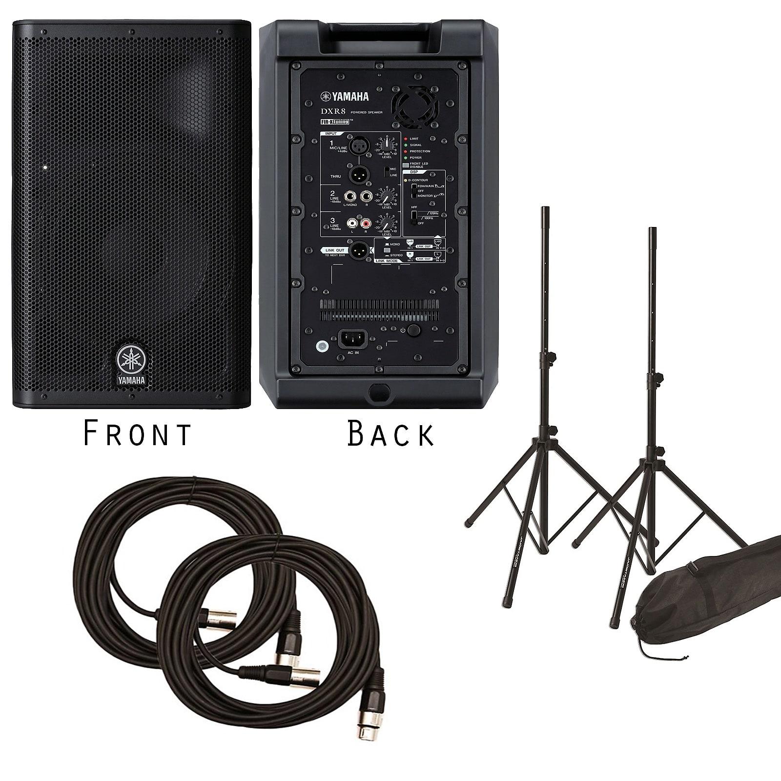 Pair! Yamaha DXR8 1100 Watt Powered Speakers for Live Church Sound w/ FREE  Speakers Stands & XLR