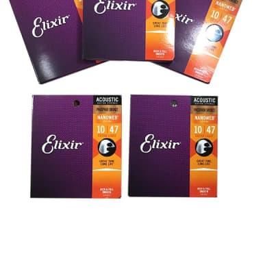 Elixir Guitar Strings 5-Pack Acoustic Phosphor Bronze Nanoweb Extra Light