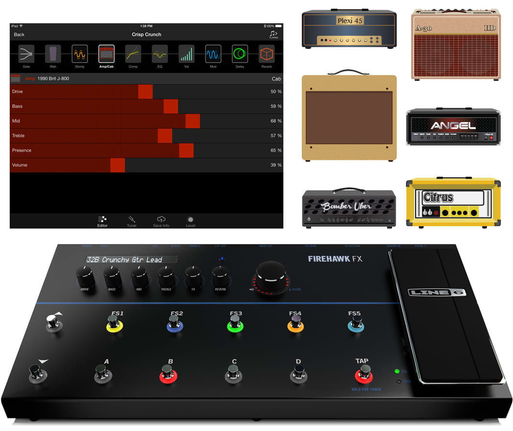 line 6 firehawk fx multi effect guitar floor pedal effects reverb. Black Bedroom Furniture Sets. Home Design Ideas