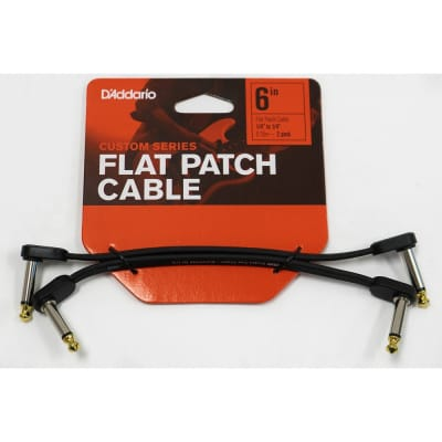 """D'Addario PW-FPRR-206 Angled Flat Patch Cable for Guitar Pedals, 6"""", Twin Pack"""