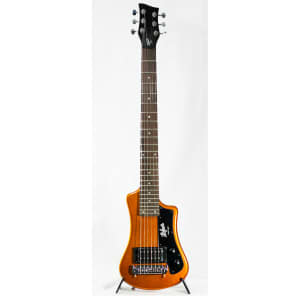Hofner Shorty Limited Edition Travel Guitar & Bag - Metallic Orange for sale