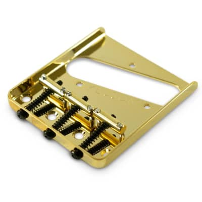 Kluson Left Hand Vintage Replacement Bridge For Fender Telecaster Steel With Brass Saddles - Gloss Gold for sale