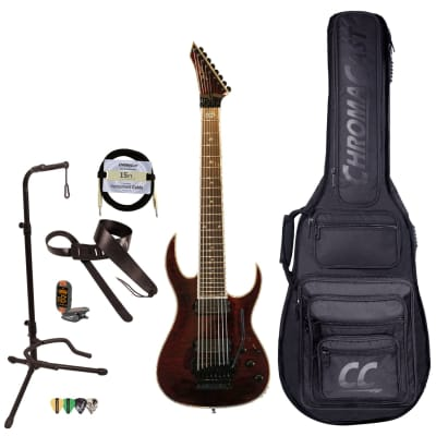 BC Rich Guitars Shredzilla 8 Prophecy Archtop Electric Guitar with Floyd Rose, Case, Strap, and Stand, Black Cherry Quilt for sale
