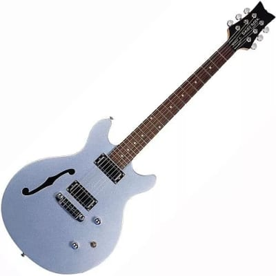 Daisy Rock DR6302 Stardust Retro-H Semi Hollow Body 6-String Electric Guitar - Ice Blue Sparkle for sale