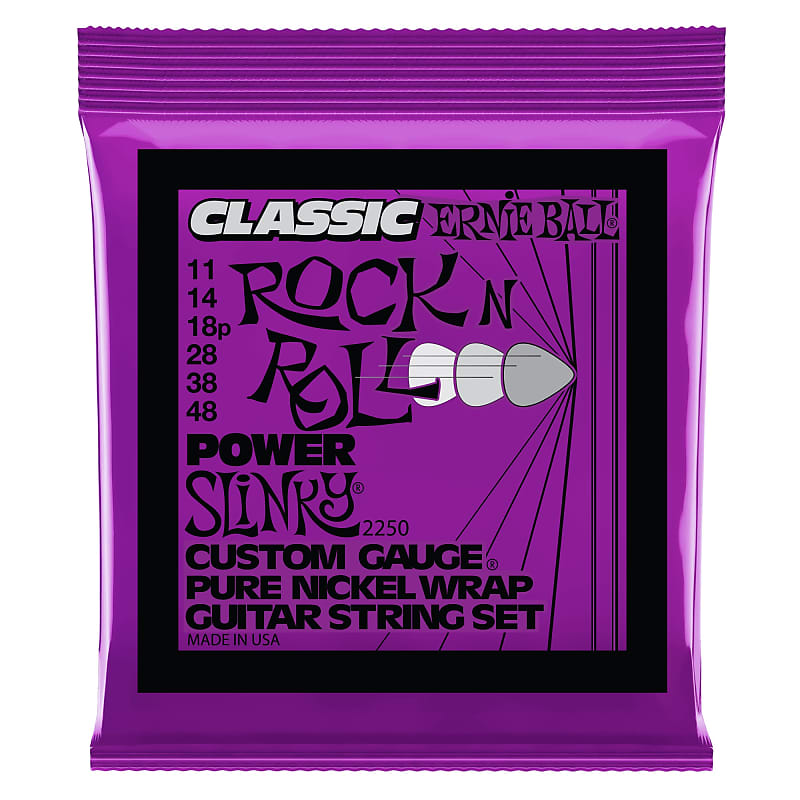 Ernie Ball Power Slinky Classic Rock N Roll Pure Nickel Wrap Electric Guitar Strings 11-48 Gauge