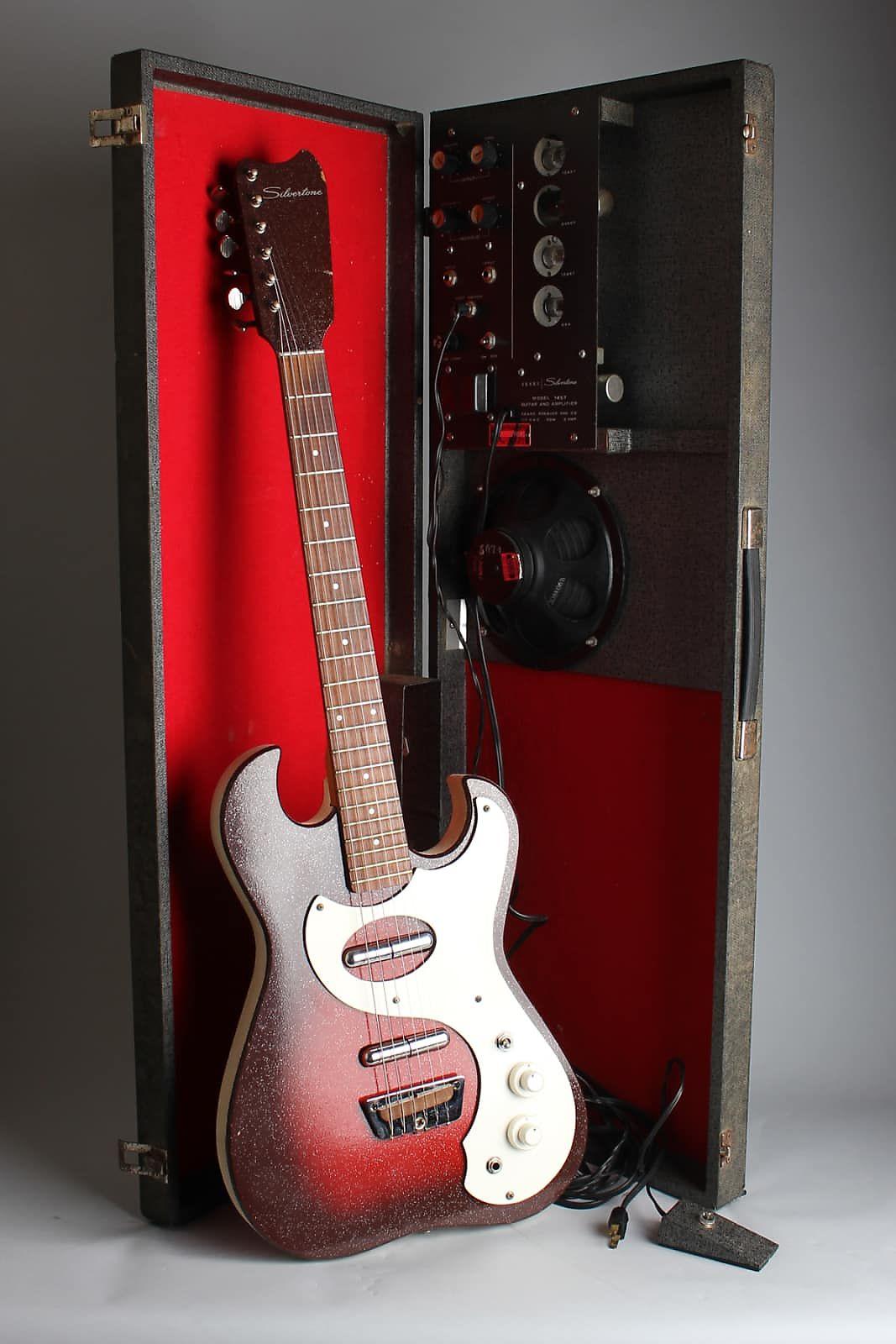 Silvertone Model 1457 Amp-In-Case Semi-Hollow Body Electric Guitar,  made by Danelectro (1964), ser. #5074, original black hard shell case.