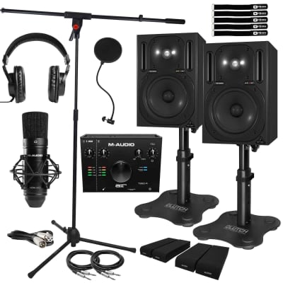 Behringer B2030A Studio Monitor Speakers AIR192x4 Pro Interface & Desk Stands