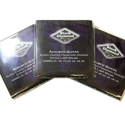 Black Diamond Guitar Strings 3 Packs Acoustic Extra Light Black Coated 10-46
