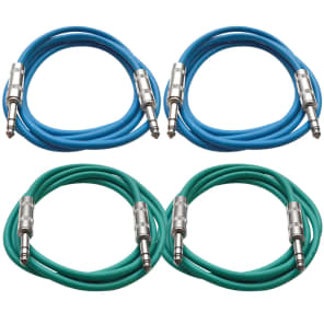 """Seismic Audio SATRX-2-2BLUE2GREEN 1/4"""" TRS Patch Cables - 2' (4-Pack)"""