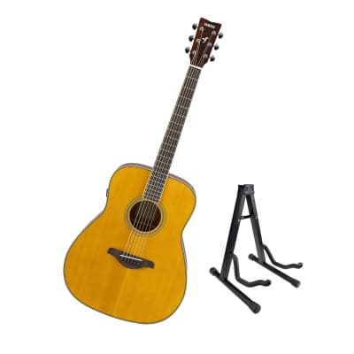 Yamaha FG-TA Vintage Tint Dreadnought TransAcoustic Guitar, Spruce Top, Mahogany Sides, Active Piezo with Guitar Stand