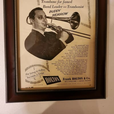 1957 Holton Horns Promotional Ad Framed Buddy Morrow Holton Model 65 Trombone Original