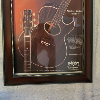 1982 Washburn Guitar Color Promotional Ad Framed Monterey Custom Studio Acoustic/Electric Original
