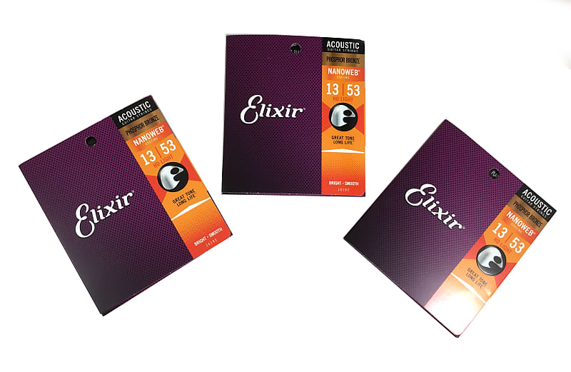 elixir guitar strings 3 pack phosphor bronze nanoweb hd light reverb. Black Bedroom Furniture Sets. Home Design Ideas