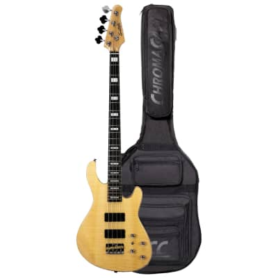 Sawtooth Mod24 Series Natural Flame Maple 24 Fret Electric Bass Guitar w Fishman Fluence Pickups and Padded Gig Bag for sale