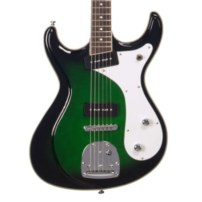 Eastwood Guitars Sidejack Baritone DLX - Greenburst - Deluxe Mosrite-inspired Offset Electric Guitar