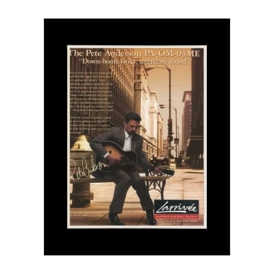 1999 Pete Anderson for Larrivee Guitars Original Magazine Ad Double Matted for 11 x 14 Frame