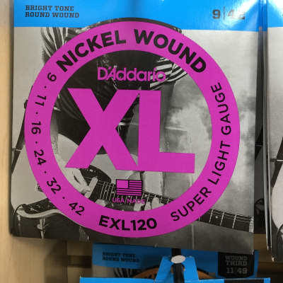 D'Addario EXL120 Nickel Wound Super Light Electric Guitar Strings, .009 - .042