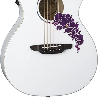 Luna 6 String Flora Orchid Acoustic/Electric Guitar-Classic White (FLO OR CWH) for sale