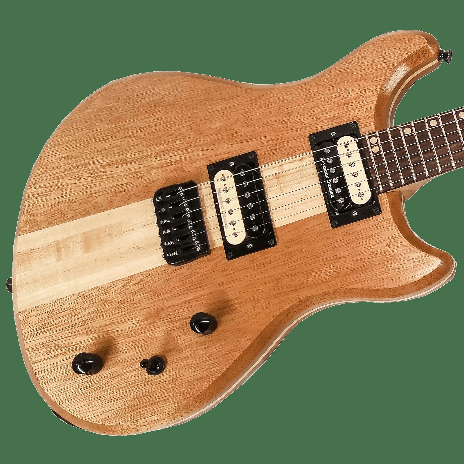 Lomic Gemini Offset Handmade Neck Through Electric Guitar 25.5 Scale #006 USA Made Mahogany
