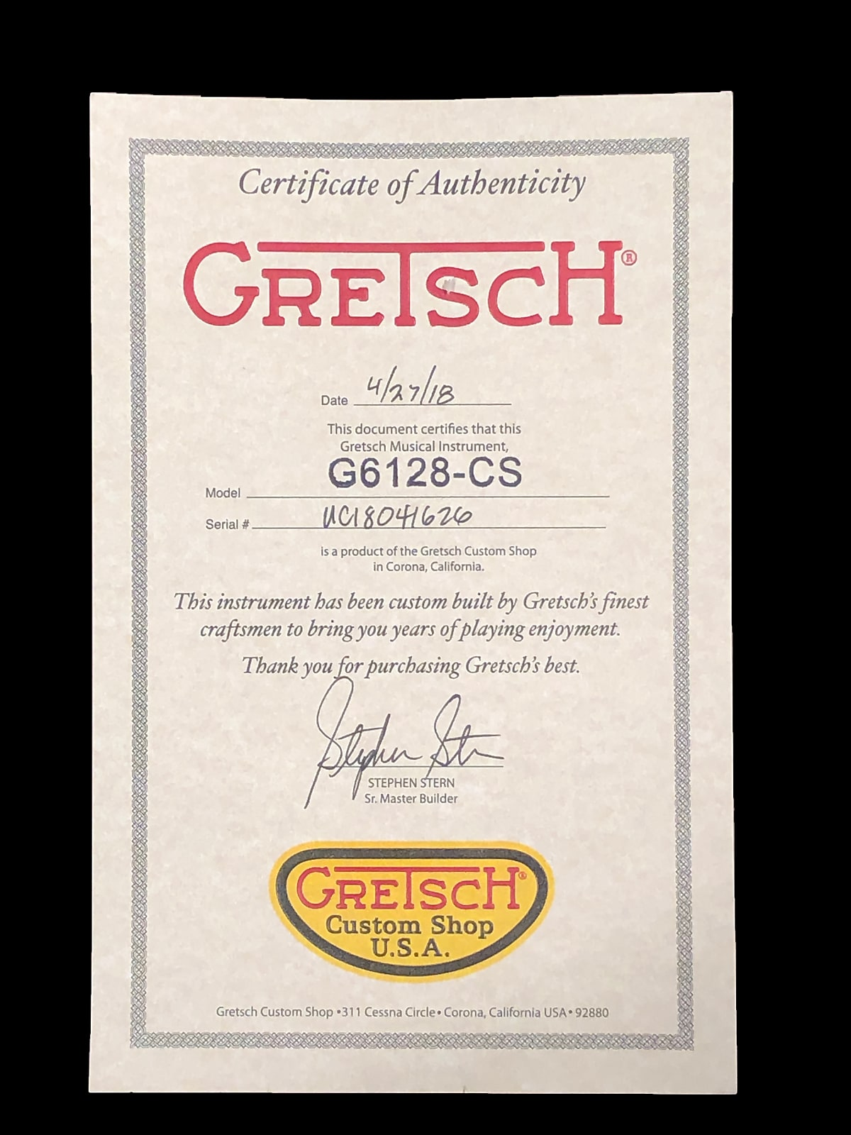 2018 Gretsch G6128-CS Masterbuilt Custom Shop 1957 Duo Jet Relic ~ Shoreline Gold
