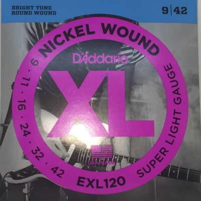 D'Addario Electric Guitar Strings Super Light Gauge EXL120 Nickel Wound 09 - 42