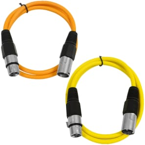 Seismic Audio SAXLX-3-ORANGEYELLOW XLR Male to XLR Female Patch Cable - 3' (2-Pack)
