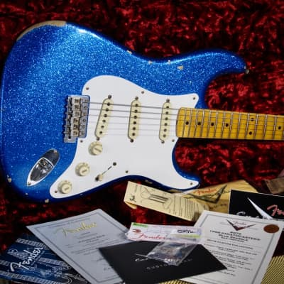 Fender Stratocaster 2016 1958 RI Relic Custom Shop Metal Flake Blue Reissue with OHSCase & Cert for sale