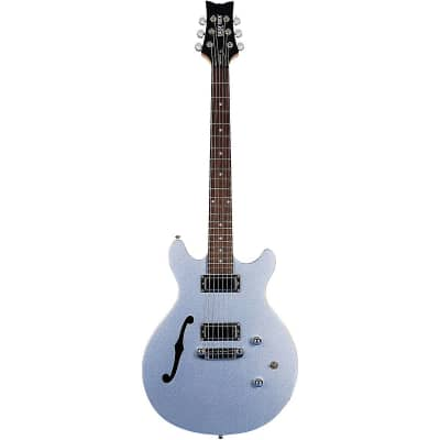 Daisy Rock Stardust Retro-H Semi-Hollow Electric Guitar Ice Blue Sparkle for sale