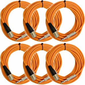 "Seismic Audio SATRXL-M25ORANGE6 XLR Male to 1/4"" TRS Male Patch Cables - 25' (6-Pack)"