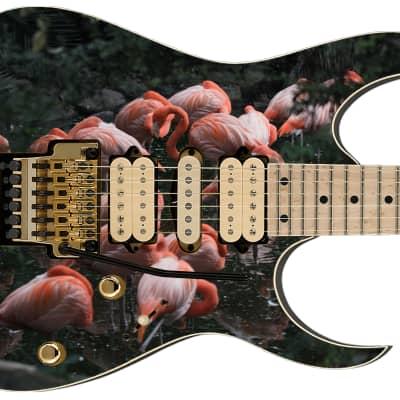 Guitar Skin Crazy Pink Flamingos Frolic Theme Body Wrap Vinyl Sticker Decal Full