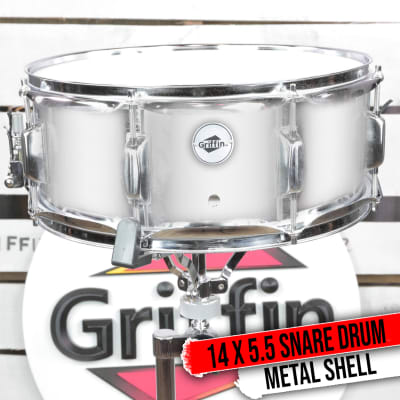 """Metal Snare Drum GRIFFIN 14""""x5.5 Steel Chrome Shell Percussion Head Key Hardware"""