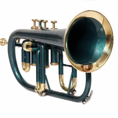 sai musicals fl-24 Professionals Flugel Horn 4 Valve Bb Pitch Green Colored W/Case And Mp 2019