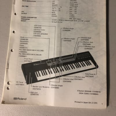 Roland D-20 Multi Timbral Linear Synthesizer and Multitrack Sequencer Service Notes