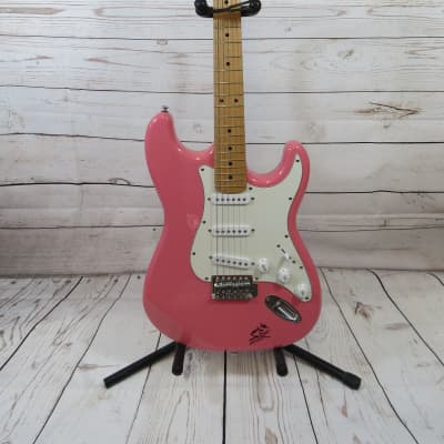 2008 Indiana Double Cutaway Electric Guitar ICE-1  Pink Autographed by John Rich for sale