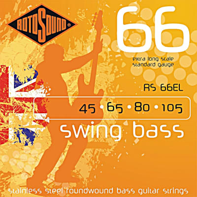Rotosound RS66EL Roundwound 4 String Extra Long Scale Bass Guitar Strings 45-125  Stainless Steel