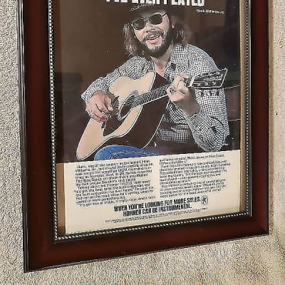 1974 Hohner Guitars Promotional Ad Framed Hank Williams Jr Original
