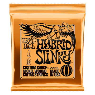 Ernie Ball 2222 Hybrid Slinky Electric Guitar Strings, .009, - .046